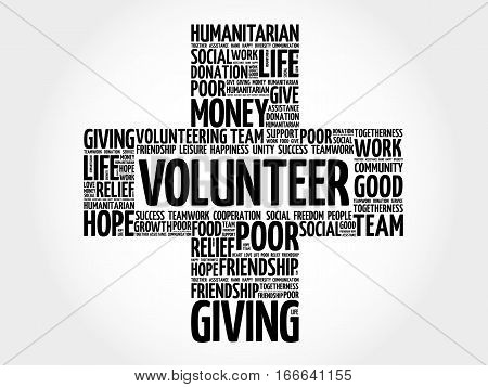Volunteer cross word cloud collage , social concept background