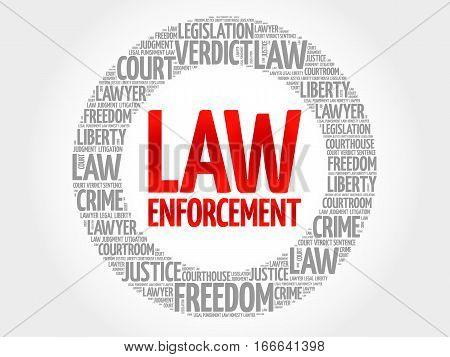Law enforcement word cloud collage , social concept background