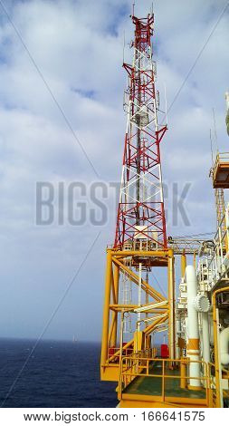 Telecom tower on oil and gas offshore platform.
