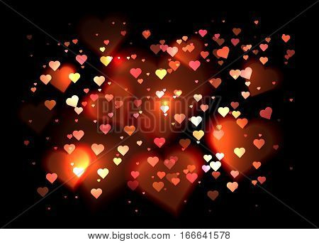 Luxurious background with hearts and bokeh sparkles. Vector background for your creativity