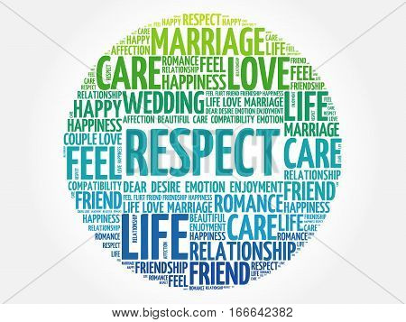 Respect word cloud collage , social concept background