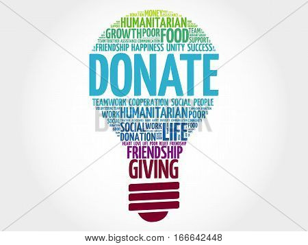 DONATE bulb word cloud collage , social concept background