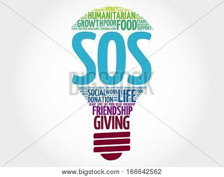 SOS bulb word cloud , social concept background