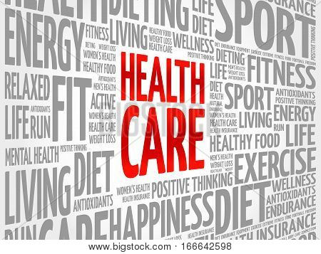 Health care word cloud collage, health concept background