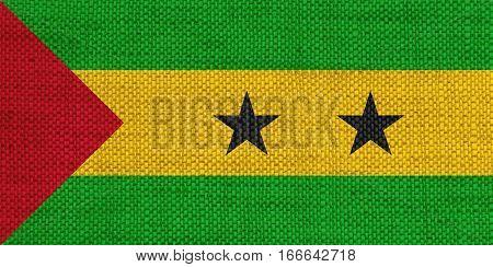 Flag Of Sao Tome And Principe On Old Linen