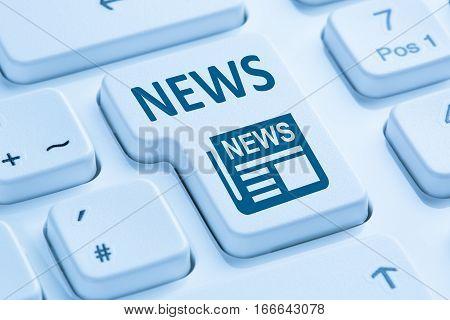 Online Newspaper News Blue Computer Keyboard