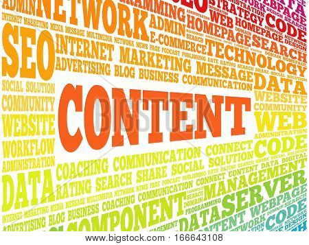 CONTENT word cloud , technology concept background