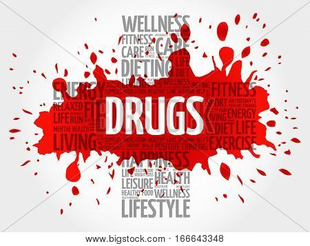 DRUGS word cloud health cross concept background