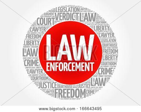 Law enforcement word cloud , social concept background