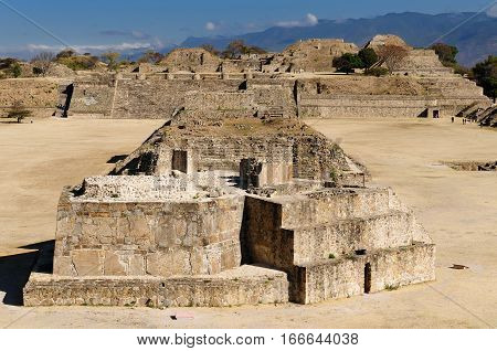 Mayan city ruins in Monte Alban near Oaxaca city Mexico