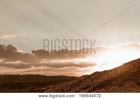 Gold arid desert landscape on Sinai, Egypt