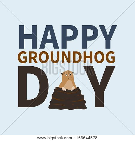 Happy groundhog day.logo, icon, cute happy Marmot emerged from burrows, perfect for greeting cards, invitations, posters, prints on T-shirt, wish text, vector illustration, isolated on a white background.