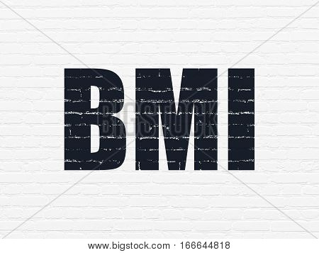 Healthcare concept: Painted black text BMI on White Brick wall background