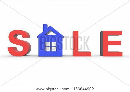 house for sale on white background 3D illustration