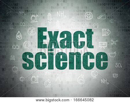 Science concept: Painted green text Exact Science on Digital Data Paper background with  Hand Drawn Science Icons