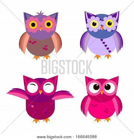 Owl icons vector illustration. Cartoon owl design.