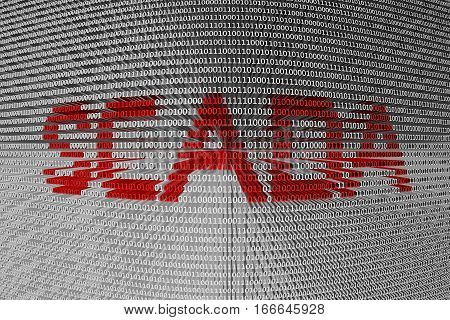 SCADA in the form of binary code, 3D illustration