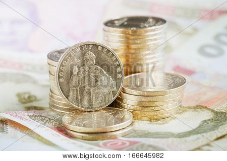 Financial background with ukrainian money. Financial concept