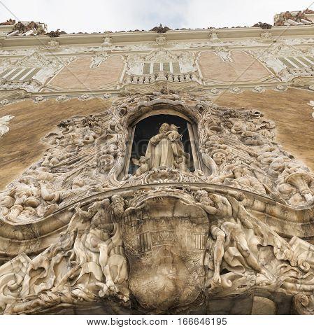 Valencia (Spain) facade of the Palace of Marques de Dos Aguas.