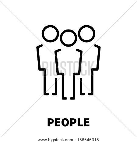 People icon or logo in modern line style. High quality black outline pictogram for web site design and mobile apps. Vector illustration on a white background.