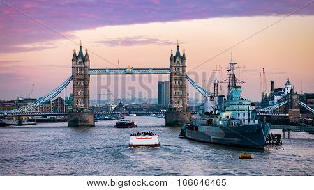 Tower Bridge in London just after a colorful winter sunset, United Kingdom