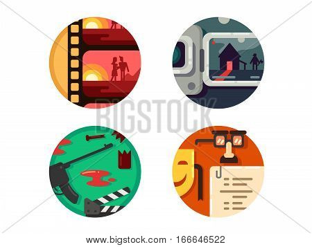 Genre cinema set. Action and comedy, horror and romance. Vector illustration. Pixel perfect icons size - 128 px