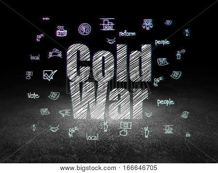 Political concept: Glowing text Cold War,  Hand Drawn Politics Icons in grunge dark room with Dirty Floor, black background