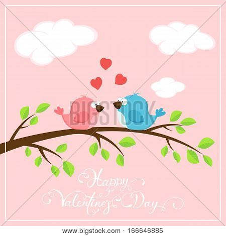 Valentines pink background with red hearts and two loving birds on the branch, holiday lettering Happy Valentines Day, illustration.