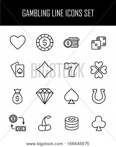 Set of gambling icons in modern thin line style. High quality black outline casino symbols for web site design and mobile apps. Simple gambling pictograms on a white background.