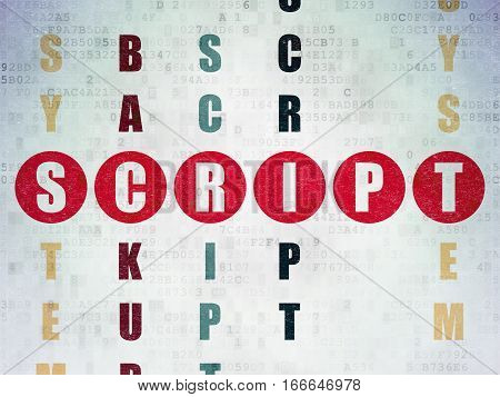 Programming concept: Painted red word Script in solving Crossword Puzzle on Digital Data Paper background