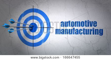 Success Industry concept: arrows hitting the center of target, Blue Automotive Manufacturing on wall background, 3D rendering