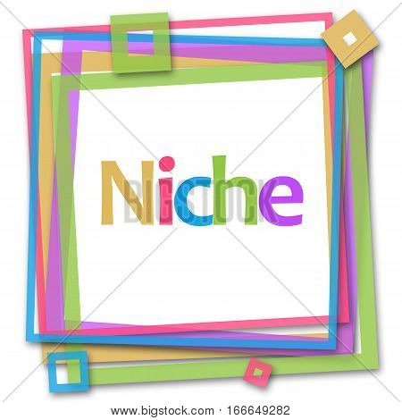 Niche text written over colorful frame background.