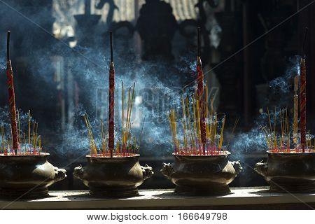 incense in Chua Ba Thien Hau Temple Saigon Vietnam