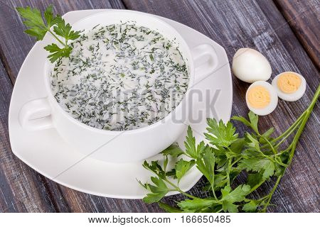 Russian cold soup okroshka in deep plate