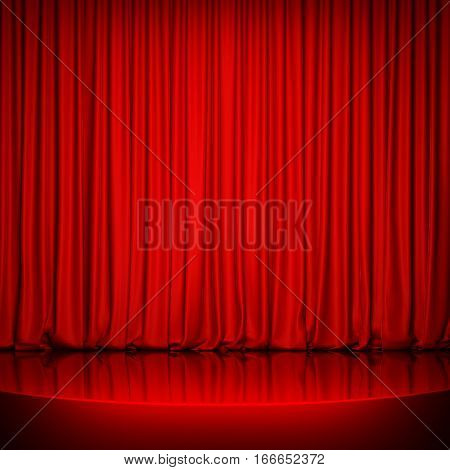 Red glossy stage with red curtain. 3D rendering