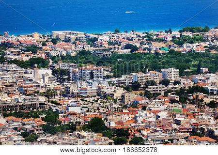 Panorama view of Rhodes in sunny summer day, Dodecanese Island, Greece