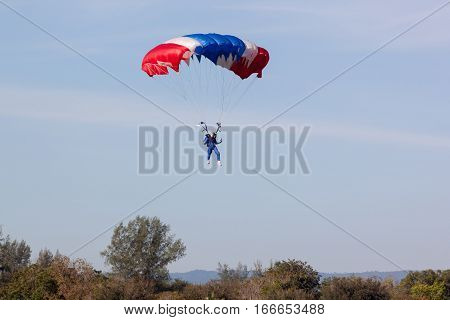 PRACHUAPKIRIKHAN THAILAND - JAN 14 2017: Skydiver show from Air Force after Parachutist performs sports parachute jump on children's day