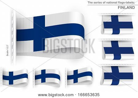 National state flag of Republic of Finland; Sewn clothing label tag from flag of Finland; Symbol of the national patriotic pride and political power; Vector set icon Eps10;