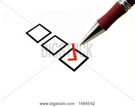 Selected Tick Box And Pen