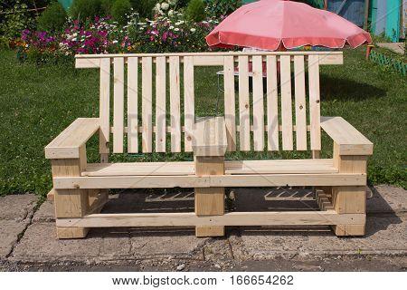 Design Garden Bench Handmade. Made Of Wood.