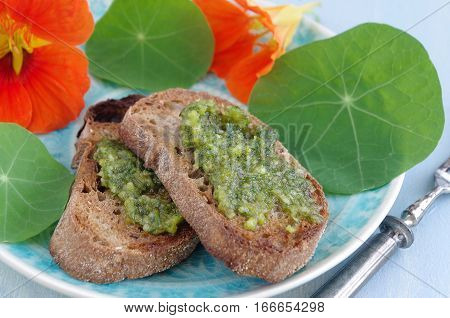crostini with fresh home-cooked green pesto with indian cress