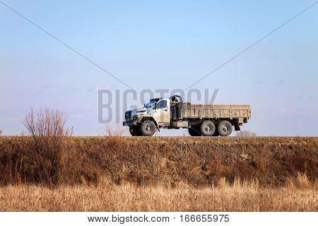 KHABAROVSK RUSSIA - OCTOBER 23 2016: URAL NEXT - new russian off road 6x6 truck on a road