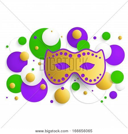Mardi gras background. Abstract horizontal banner. Template for invitation, flyer, poster or greeting card. Carnival mask with beads. Vector illustration.