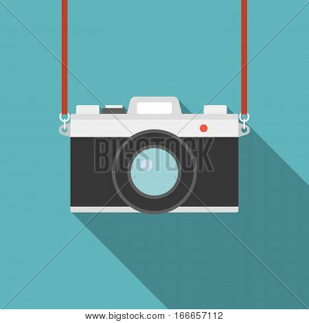 Camera icon, flat design with long shadow