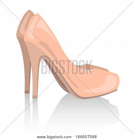 vector nude realistic women shoes on white background