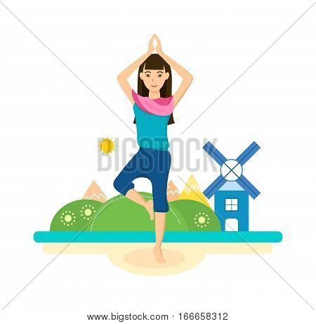The girl is engaged in the standing position, engage in yoga and meditation, recreation and recuperate, tropical summer, outdoors. Vector illustration. Can be used as banner, commercial materials.