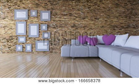 3d rendering image of interior design living room.pink heart pillow on sofa set and place on the wooden floor which have many photo frames on the brick wall as background. Valentine day concept