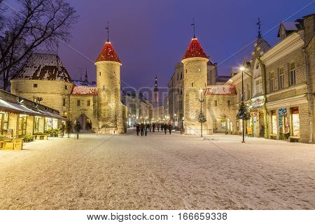 TALLINN ESTONIA - 4TH JAN 2017: A view towards Tallinn Old Town at night during the winter. Viru Gate Towers the tower of Tallinn Town Hall and people can be seen.