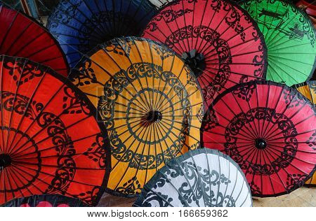 Traditional Paper Umbrellas For Sale In Myanmar