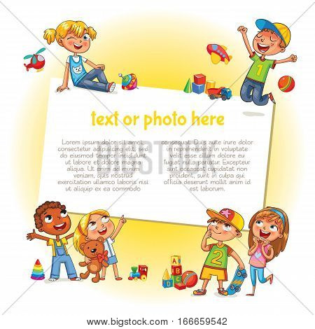 Template for advertising brochure. Ready for your message. Happy children holding blank poster. Kid pointing at a blank template. Lorem ipsum. Funny cartoon character. Vector illustration